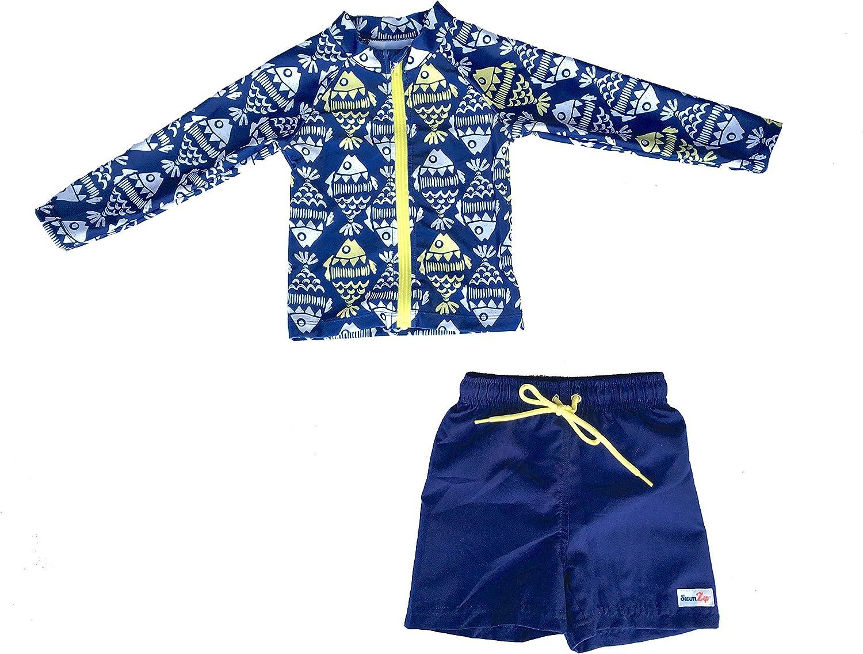 SwimZip Little Boy Zipper Long Sleeve Rash Guard Swimsuit Set Fish Bone Blue