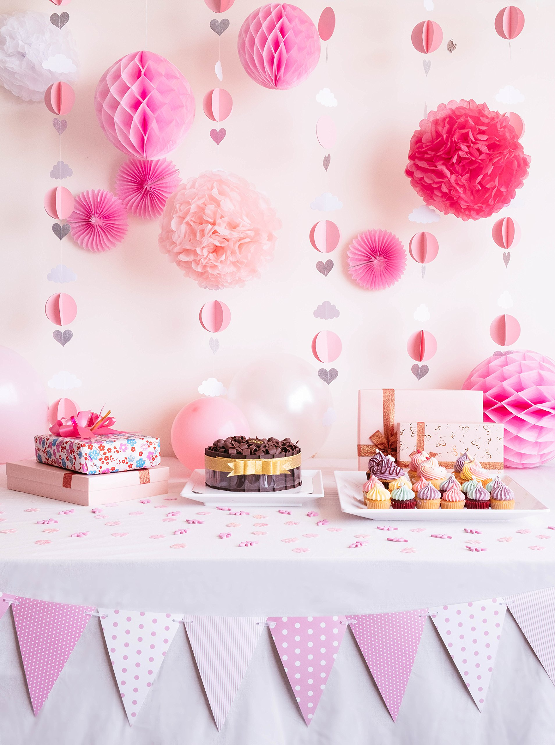 Baby Shower Party Decoration Set for Girls in Pink and White - Cute Balloon Garlands, Pink Pom Poms, Baby Girl Nursery Bunting, Honeycomb Balls and Paper Fans for First Birthday Party and Playroom