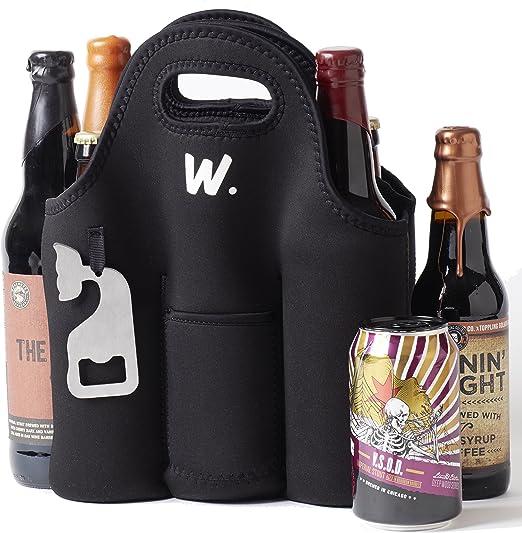 Aislante 6 Pack Beer Bottle Carrier con abridor, bolsa de neopreno. Mantiene el frío y protegido, se puede lavar a máquina.: Amazon.es: Jardín