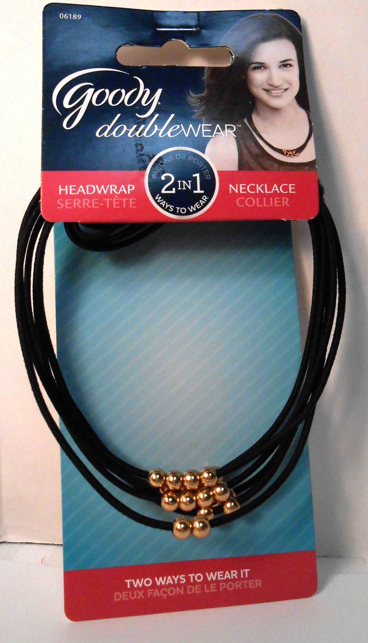 Goody 2 in 1 Headwrap Necklace Black Elastic Cords With Brass Like Beads NIP