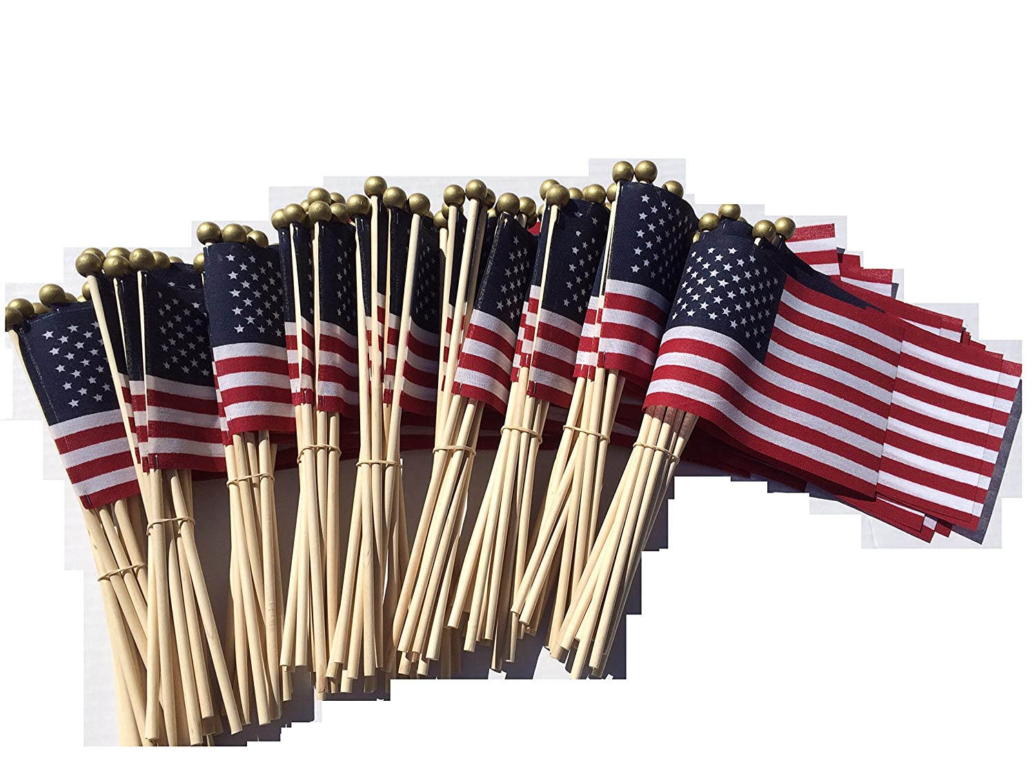 Lot of -100- 4x6 Inch US American Hand Held Stick Flags Safety Ball Top WindStrong®