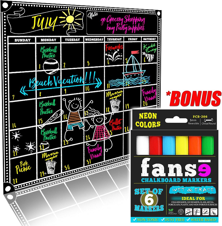 "Fanse Large Magnetic Calendar and Liquid Marker Set 18"" x 14"" / Monthly Planner Blackboard Organizer Agenda Memo for Home, Grocery, Kitchen Refrigerator, Classroom, Dorm Room"