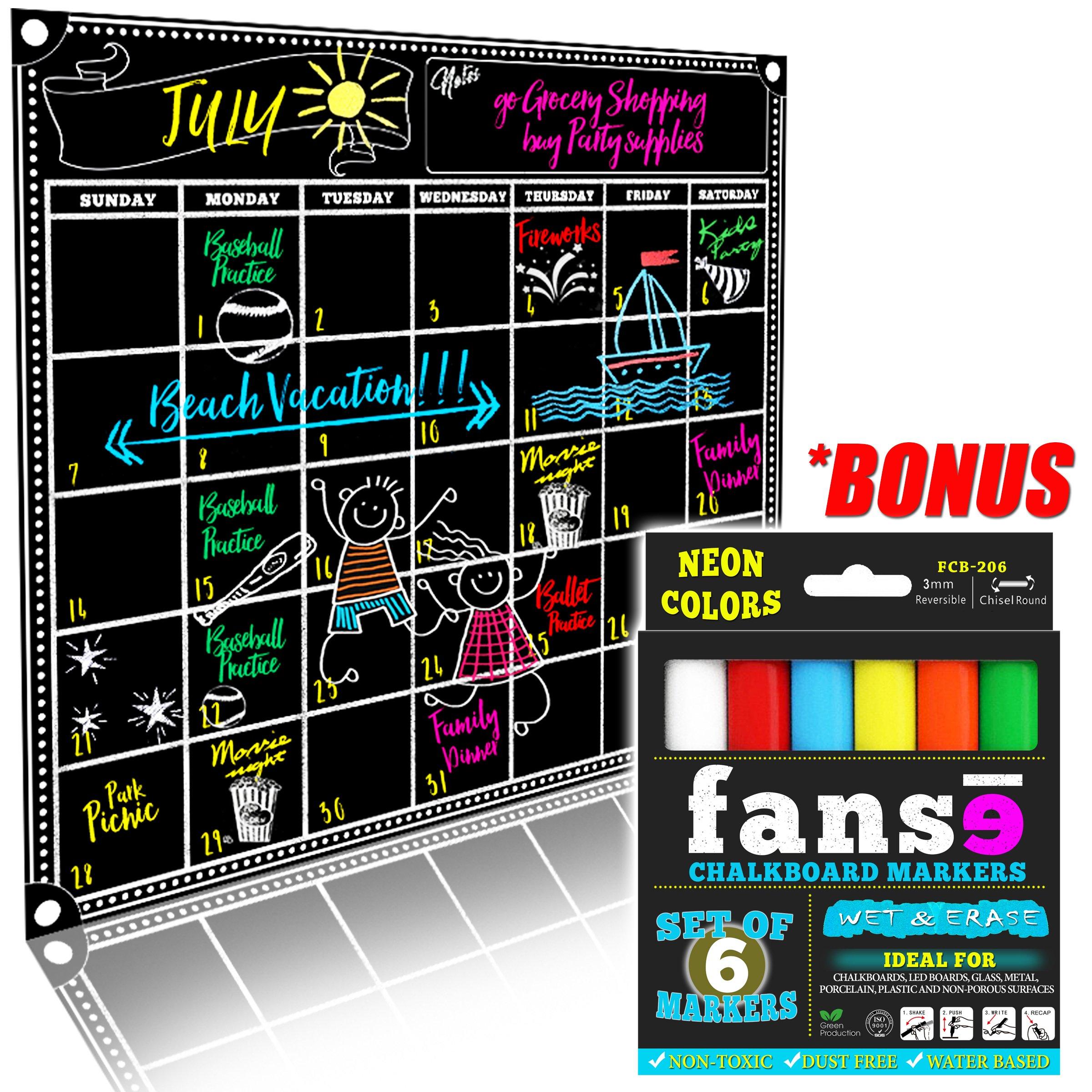Fanse Large Magnetic Chalkboard Calendar and Liquid Chalk Marker Set 18'' x 14'' / Monthly Planner Blackboard Organizer Agenda Memo for Home, Grocery, Kitchen Refrigerator, Classroom, Dorm Room