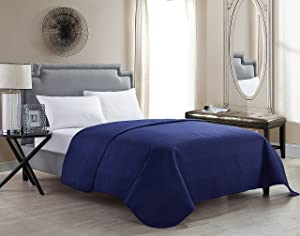 VCNY Home Columbus Luxurious Microfiber Embossed Quilted Coverlet / Bedspread with Geometric Design Blue Full / Queen