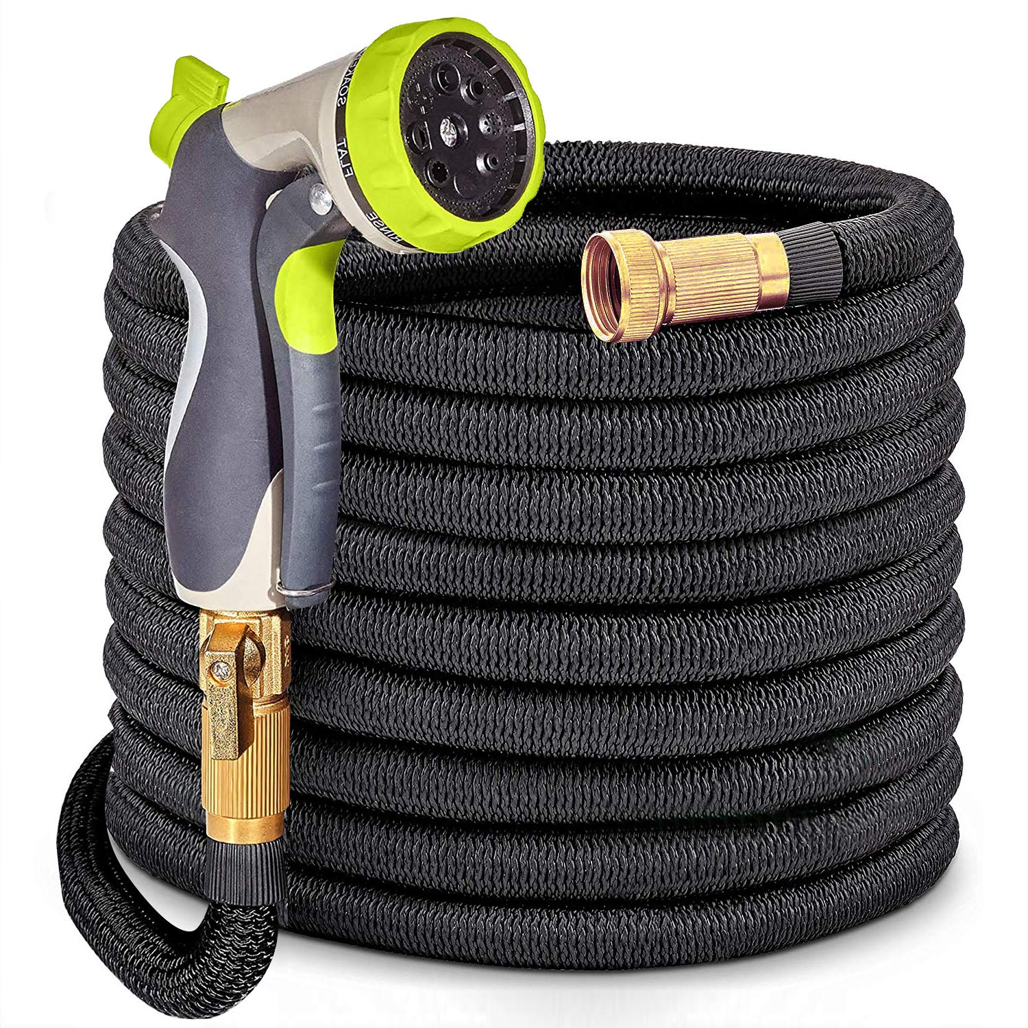 HYRIXDIRECT 50ft Garden Hose Lightweight Durable Flexible Water Hose with 3/4 Nozzle Solid Brass Connector and 8 Pattern High Pressure Water Spray Nozzle Expanding Hoses Up to 50 Feet (Black, 50)