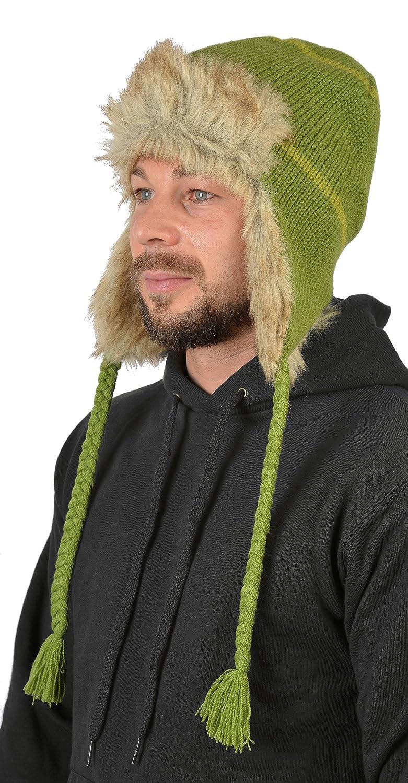 Herren Strickmütze für die Herbst/Winter Saison, Skimütze für Herren, komplett gefüttert, Farbe: Hell Grün