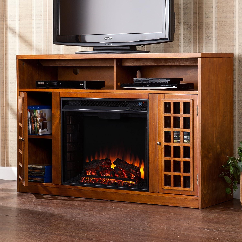 amazoncom sei narita media console with electric fireplace glazed pine kitchen u0026 dining