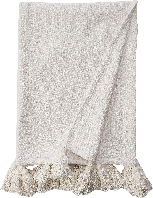 Mud Pie Woven Tassel White Throw Blanket