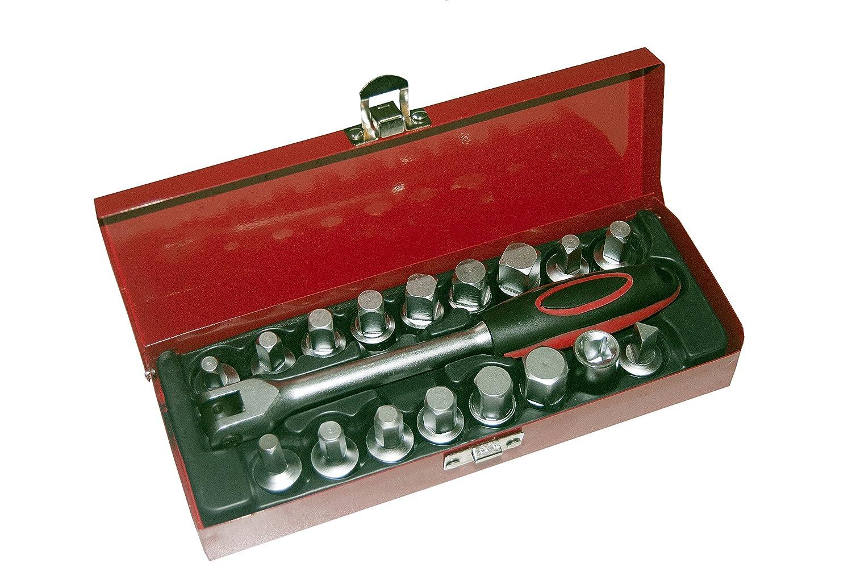 18 pcs Universal Oil Drain Plug Set Key Tool kit Sump Axle Metal Case Car 4x4