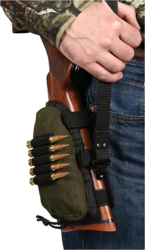 Amazon Com Allen Company Buttstock Shell Holder And Pouch For Rifles Green Black One Size 20550 Gun Ammunition And Magazine Pouches Sports Outdoors