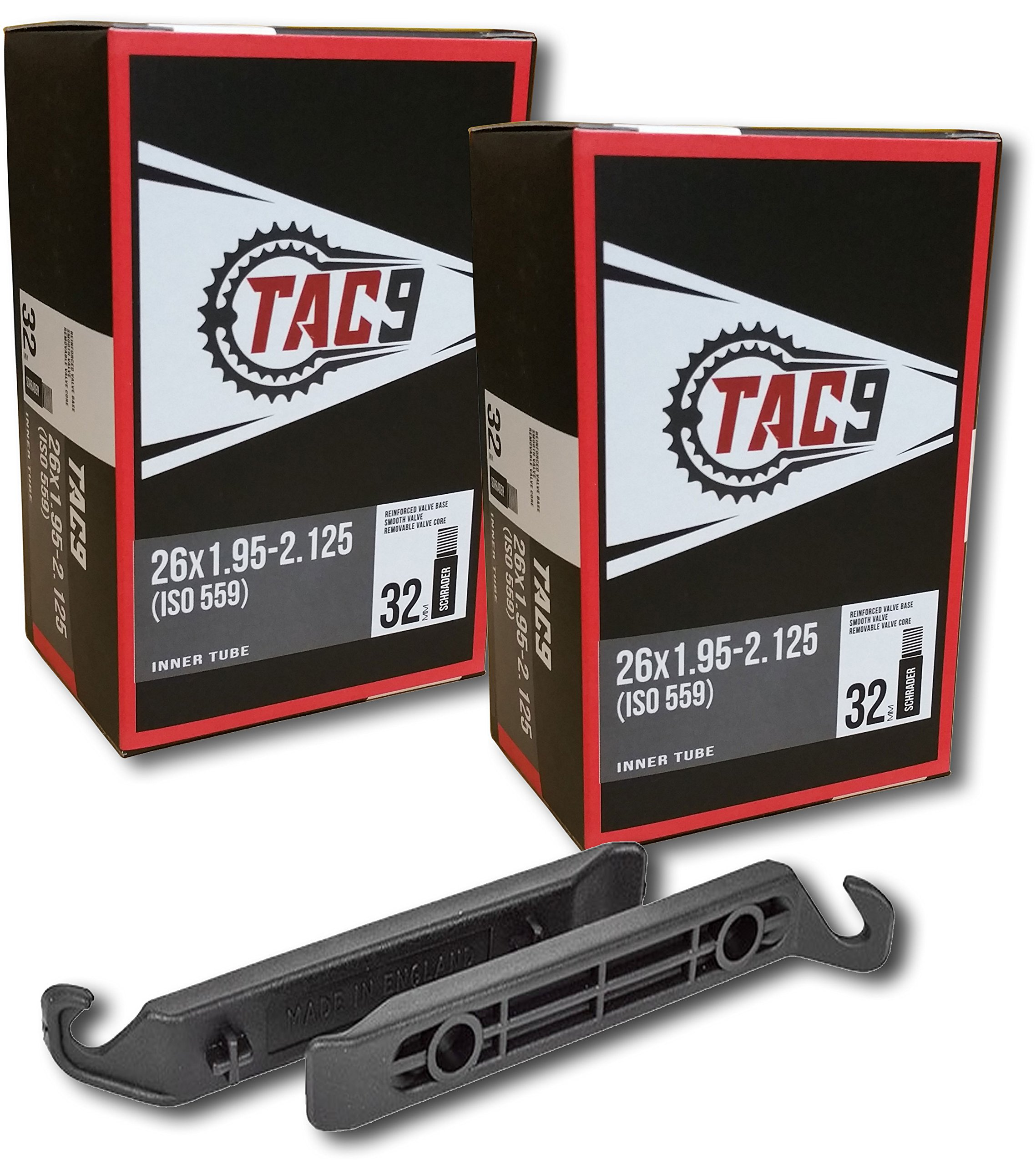 TAC 9 2 Pack Bike Tubes, 26 x 1.95-2.125'' Regular Valve 32mm - Tubes and Tire Levers ONLY Bundle by TAC 9