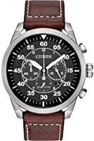 Citizen Avion Men's Quartz Watch with Black Dial Analogue Display and Brown Leather Strap CA4210-24E