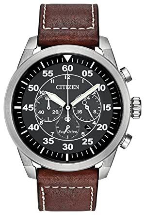 3236d09450b Citizen Avion Men s Quartz Watch with Black Dial Analogue Display and Brown  Leather Strap CA4210-24E  Amazon.co.uk  Watches