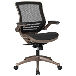 Flash Furniture Mid-Back Transparent Black Mesh Executive Swivel Office Chair with Melrose Gold Frame and Flip-Up Arms