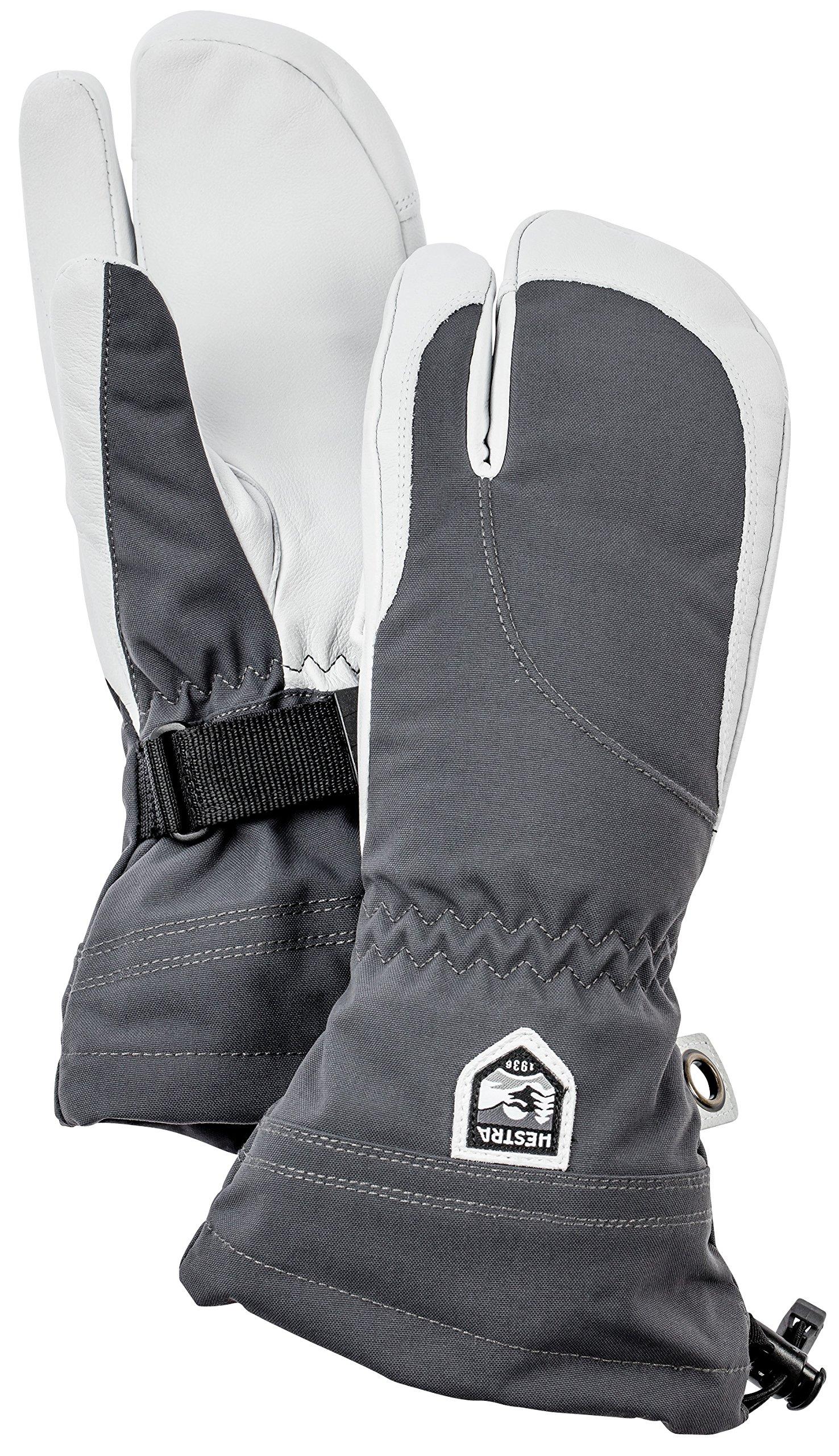 Hestra Women's Heli 3-Finger Gloves, Grey, Size 7