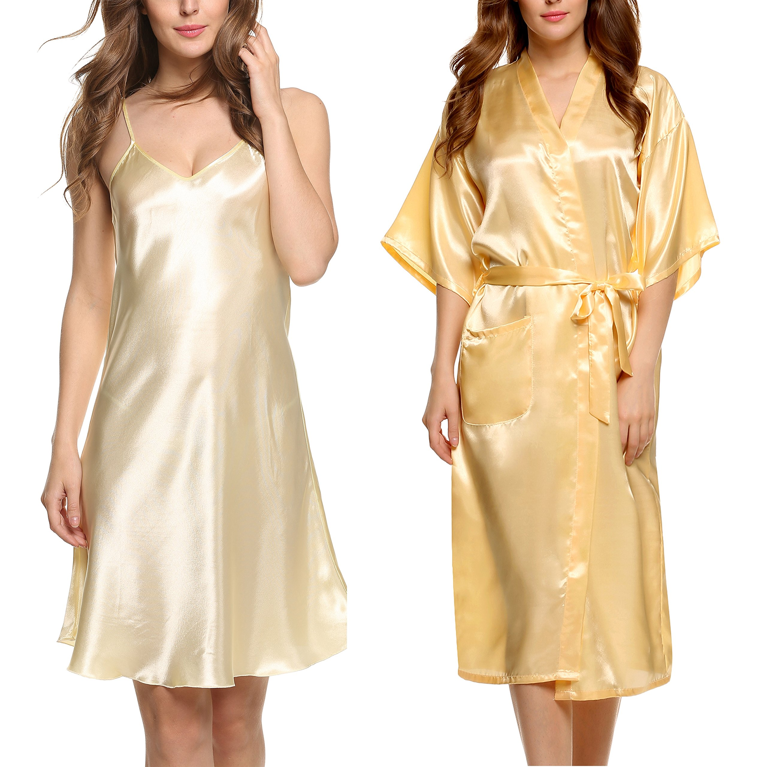 Avidlove Women's Silk Kimono Robe Long Stain Full Slip Nightgown Sleepwear Yellow XL