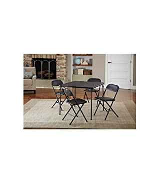 Cosco 5 Piece Card Table Set, Black That Is Low Maintenance And Long