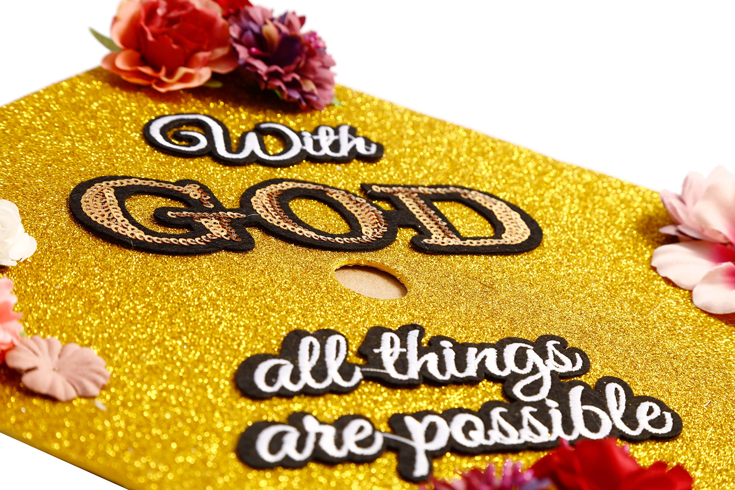 GradWYSE Handmade Graduation Cap Topper Graduation Gifts Graduation Cap Decorations, with God All Things are Possible Gold by GRADWYSE (Image #2)