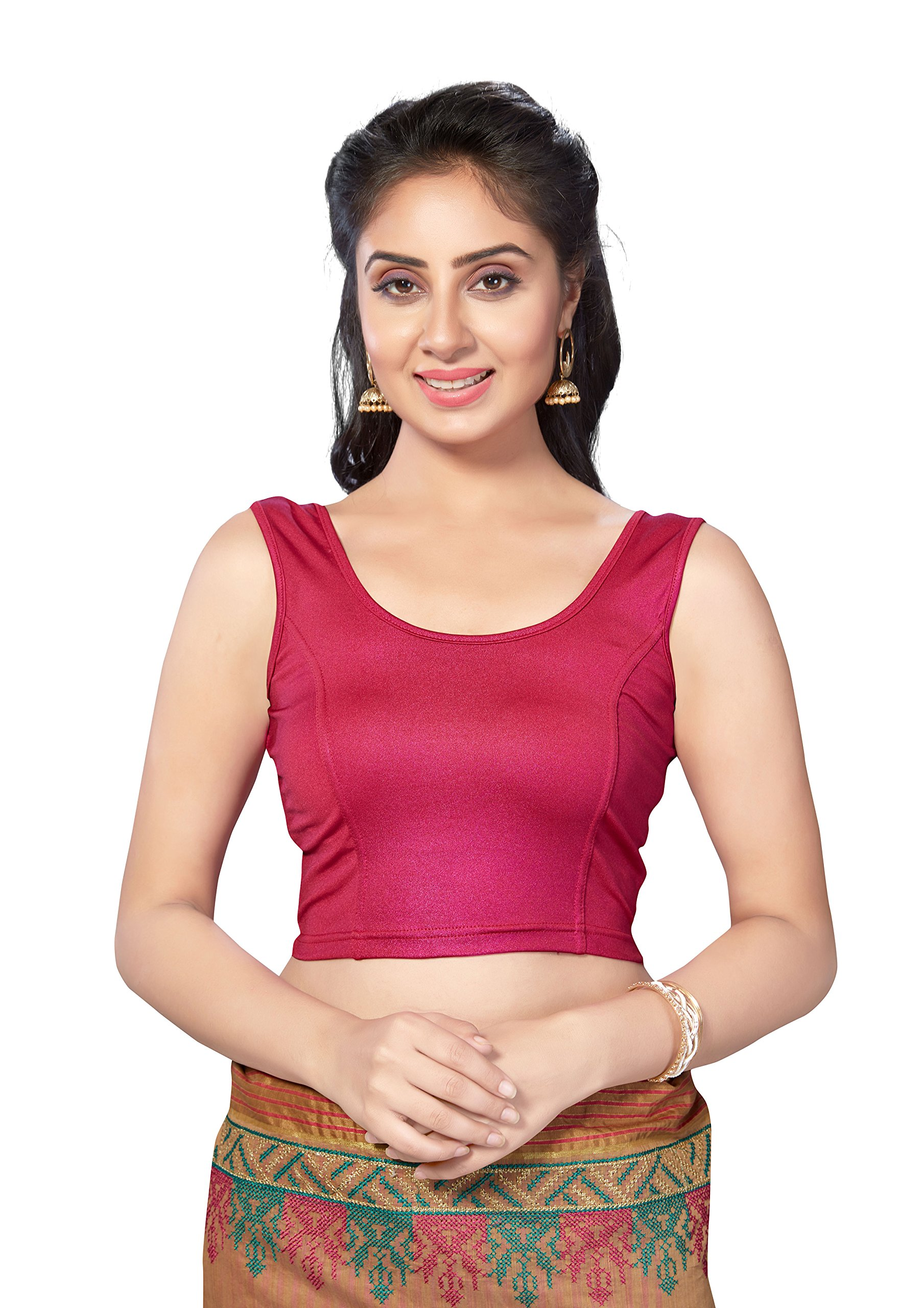 TrendyFashionMall Magenta Lycra Stretchable Sleeveless Saree Blouse XXS(34) by TrendyFashionMall