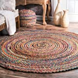 Fernish Decor Round Jute & Cotton Rug Carpet, Multi Chindi Braid Rug, Hand Woven & Reversible, Multi-Color Vibrant Fabric Rags for Living Room Bedroom (180 cm Dia, Round)