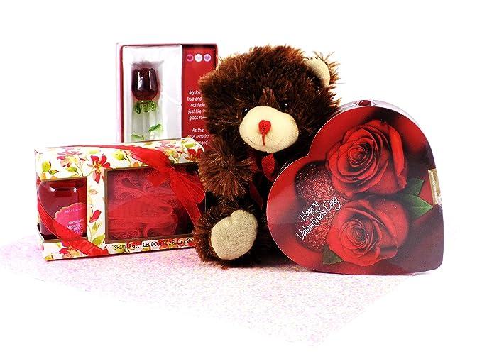 Amazon Com Lovebugs Valentine S Day Box Of Chocolate Spa Treatment Glass Rose Keepsake And Teddy Bear Gift Grocery Gourmet Food