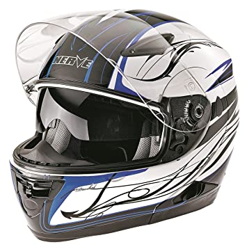 Nerve Casco Modular de Moto, Blanco/Negro/Azul, M