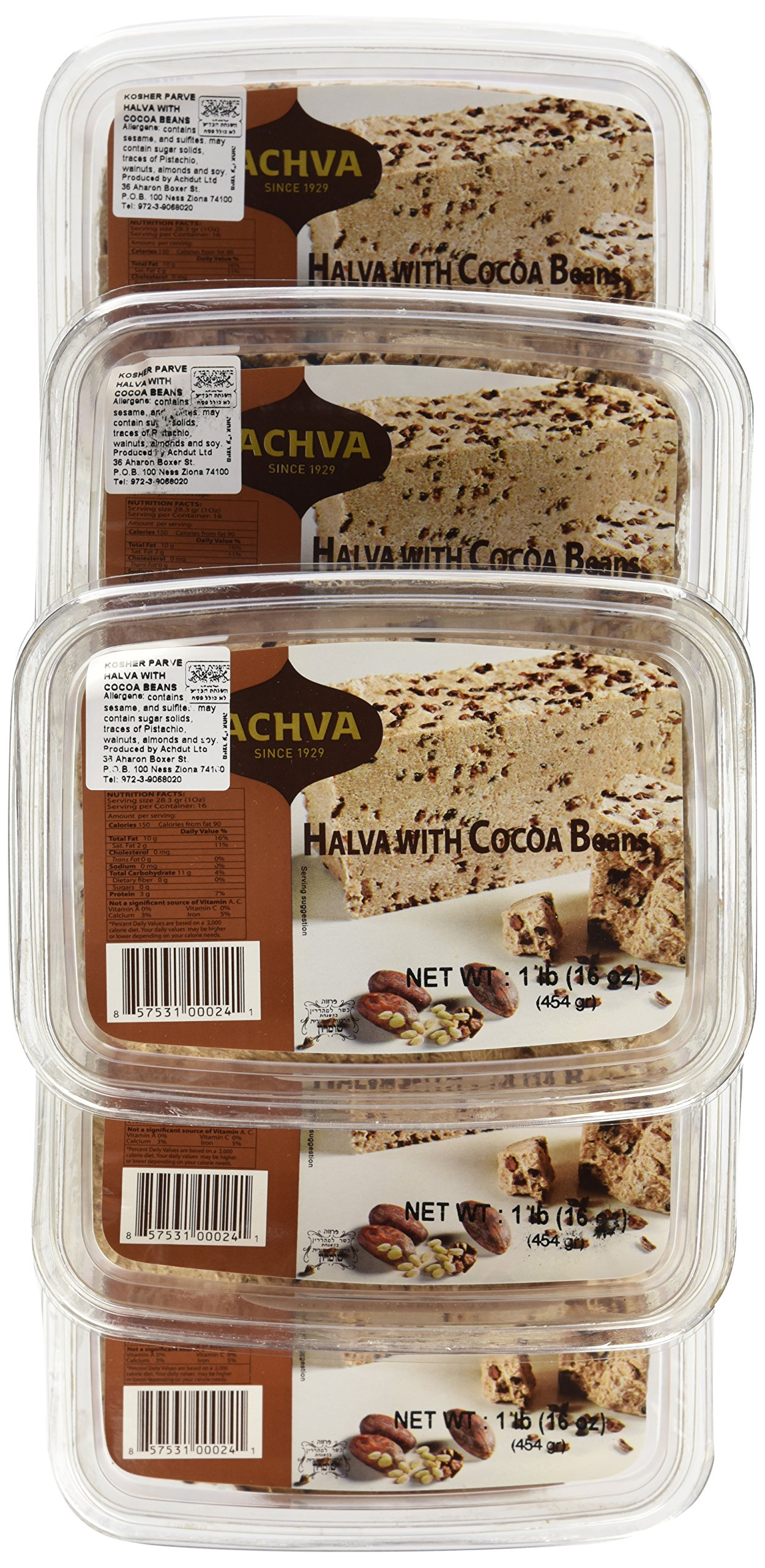 Achva Halva, Cocoa Beans, 16-Ounce Trays (Pack of 12) by Achva