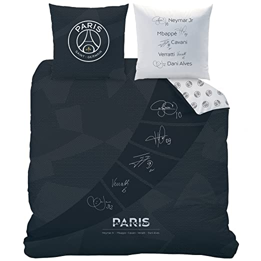 PSG Parure Coton 200x200 cm CTI 045576 Noir//Blanc