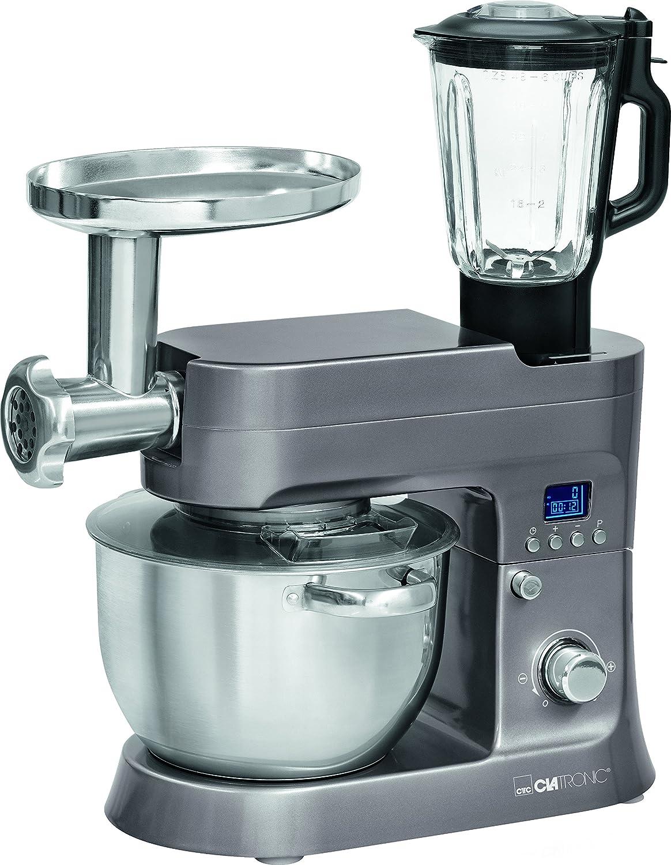 Clatronic KM 3674 Robot de Cocina Multifunción, Batidora Amasadora, 1200 W, 6.2 Litros, Acero Inoxidable, Titanio