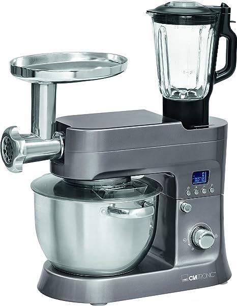Clatronic KM 3674 Robot de Cocina Multifunción, Batidora Amasadora, 1200 W, 6.2 Litros, Acero Inoxidable, Titanio: Amazon.es: Hogar