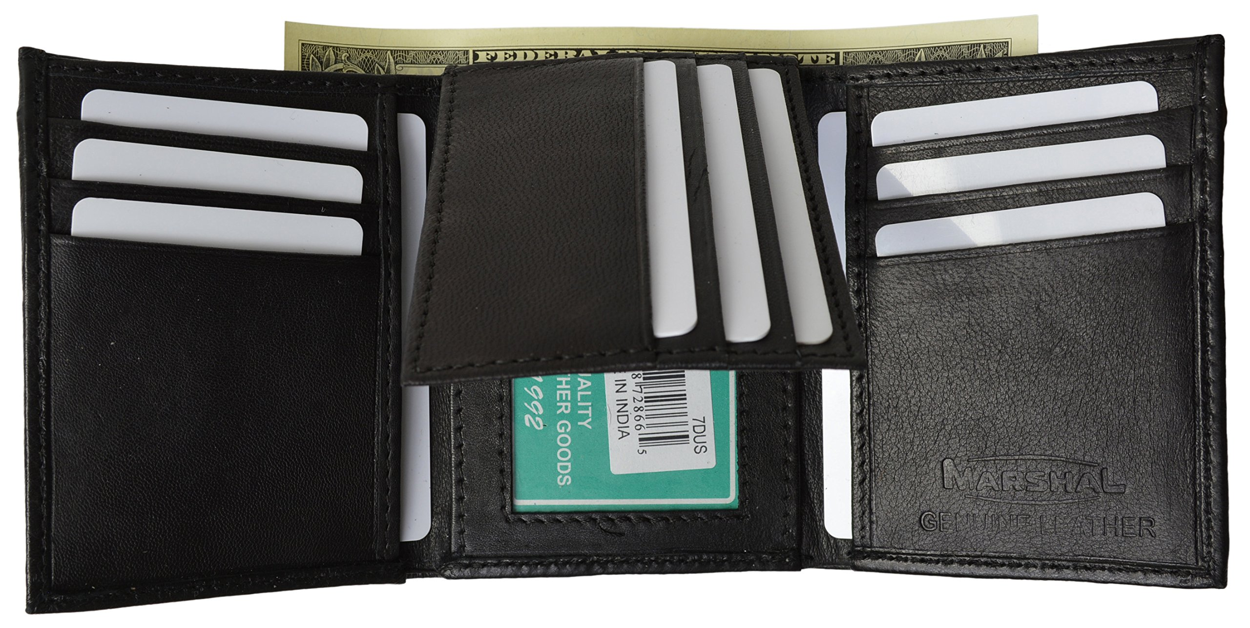 galleon mens trifold wallet extra capacity inside slots 2 id
