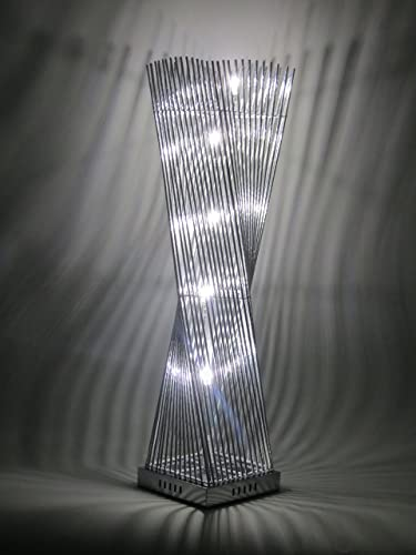Cayan tower led woven wire and aluminium twisted prism table lamp cayan tower led woven wire and aluminium twisted prism table lamp featuring silver stem sections greentooth Gallery