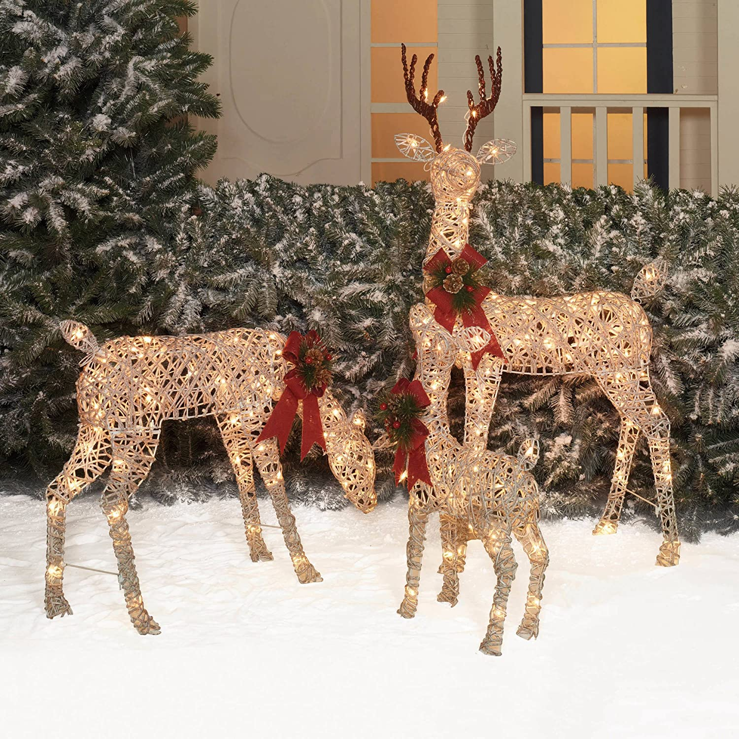 Amazon holiday time christmas decor set of 3 woodland vine deer amazon holiday time christmas decor set of 3 woodland vine deer family sculpture home kitchen aloadofball Image collections