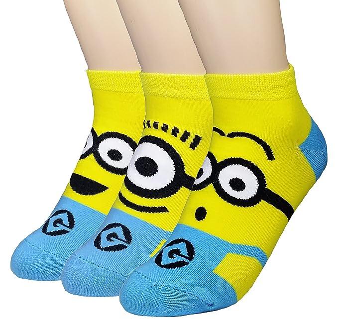 JJMax mujer divertidas chicos amarillos Minions Mezcla del algodón calcetines