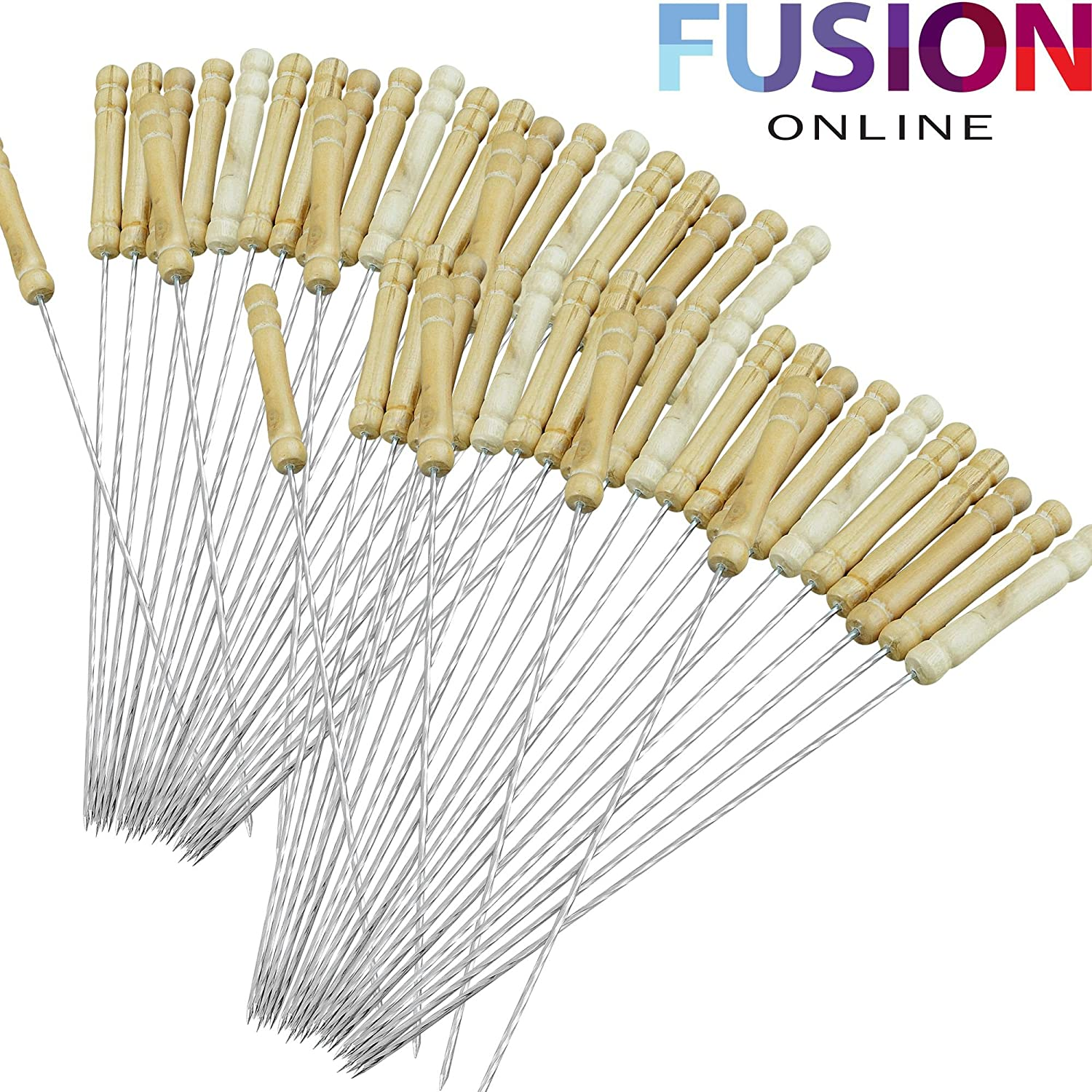 48 X BBQ CHROME SKEWERS 30CM METAL BARBECUE KEBAB STICKS FOOD GRILL COOKING TANDOORI Fusion
