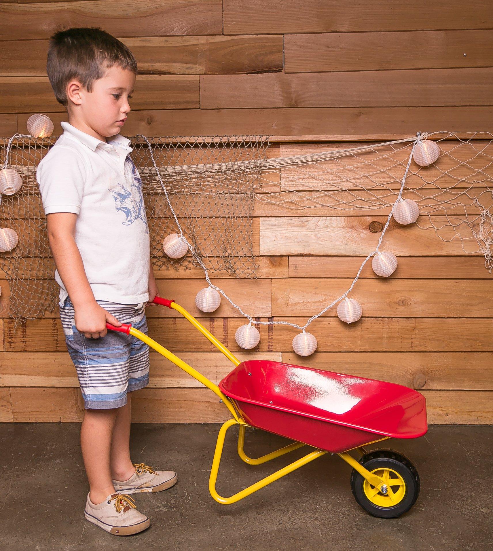 MMP Living Kids Metal Wheelbarrow Plus Tools/Kneepad, Red