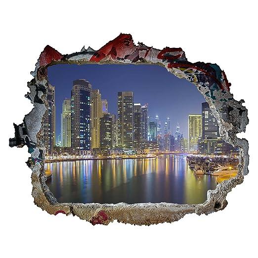 Bilderwelten Tatuaje de Pared 3D - Dubai Night Skyline - Apaisado ...