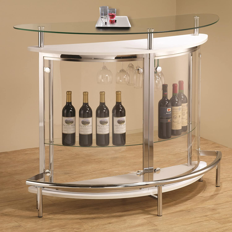 Wine Bar Storage Cabinet Amazoncom Coaster Contemporary Tempered Glass White Bar Unit