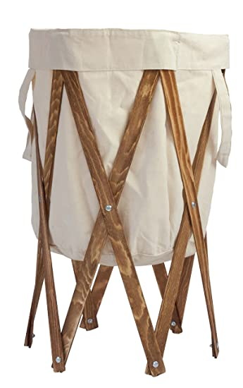 Max Rae Collapsible Laundry Hamper With Stained Wood Frame Dirty Clothes Storage Removable Fabric Bag With Handles Easy To Carry And Clean