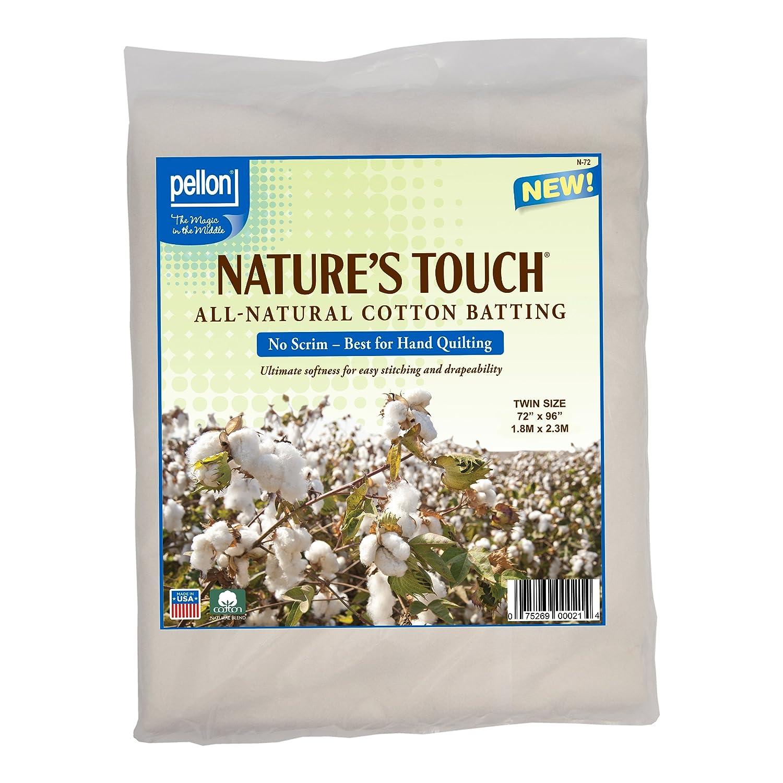Pellon N-72 Nature's Touch 100% Natural Cotton Batting, No Scrim - Twin 72 X 96