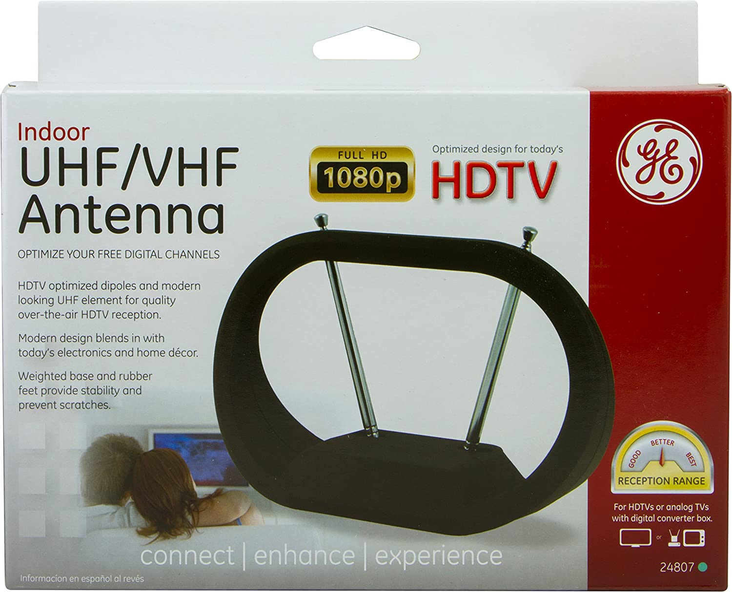 Amazon.com: GE 24804 Indoor Antenna - Indoor VHF / UHF HDTV Antenna: Home Audio & Theater