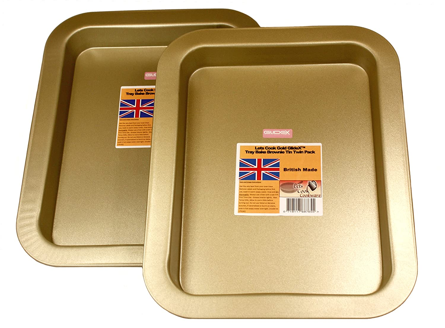 Large Deep Tray Bakes, Brownie Tins, Twin Pack, British Made with Gold GlideX Non Stick by Lets Cook Cookware