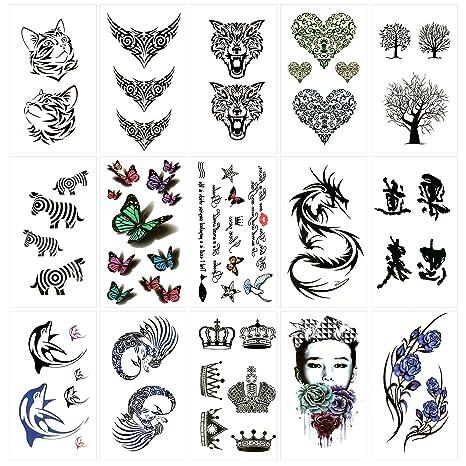 Oottati 15 Hojas Pequeñas Cute Tatuajes Temporales Árbol Corazón Gato Tótem Dragón Mariposa Cebra Corona Delfín