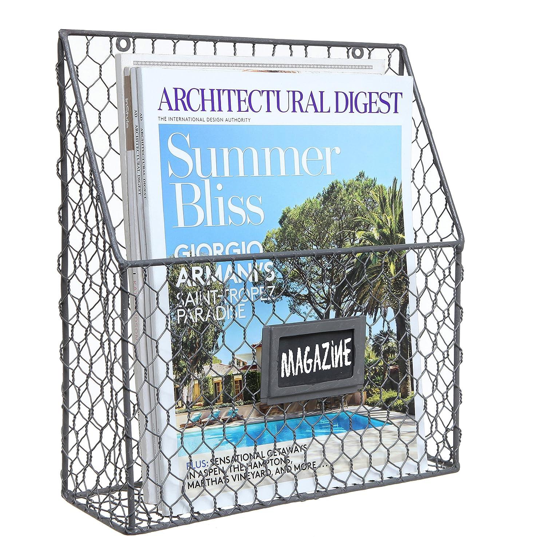 Black Chicken Wire Design Metal Storage Basket / Wall Mounted Magazine & Newspaper Organizer Rack MyGift 6105147
