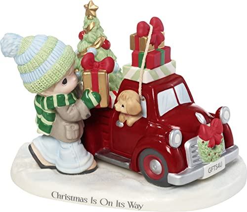 Precious Moments Christmas is On Its Way Red Truck Figurine, Multicolor