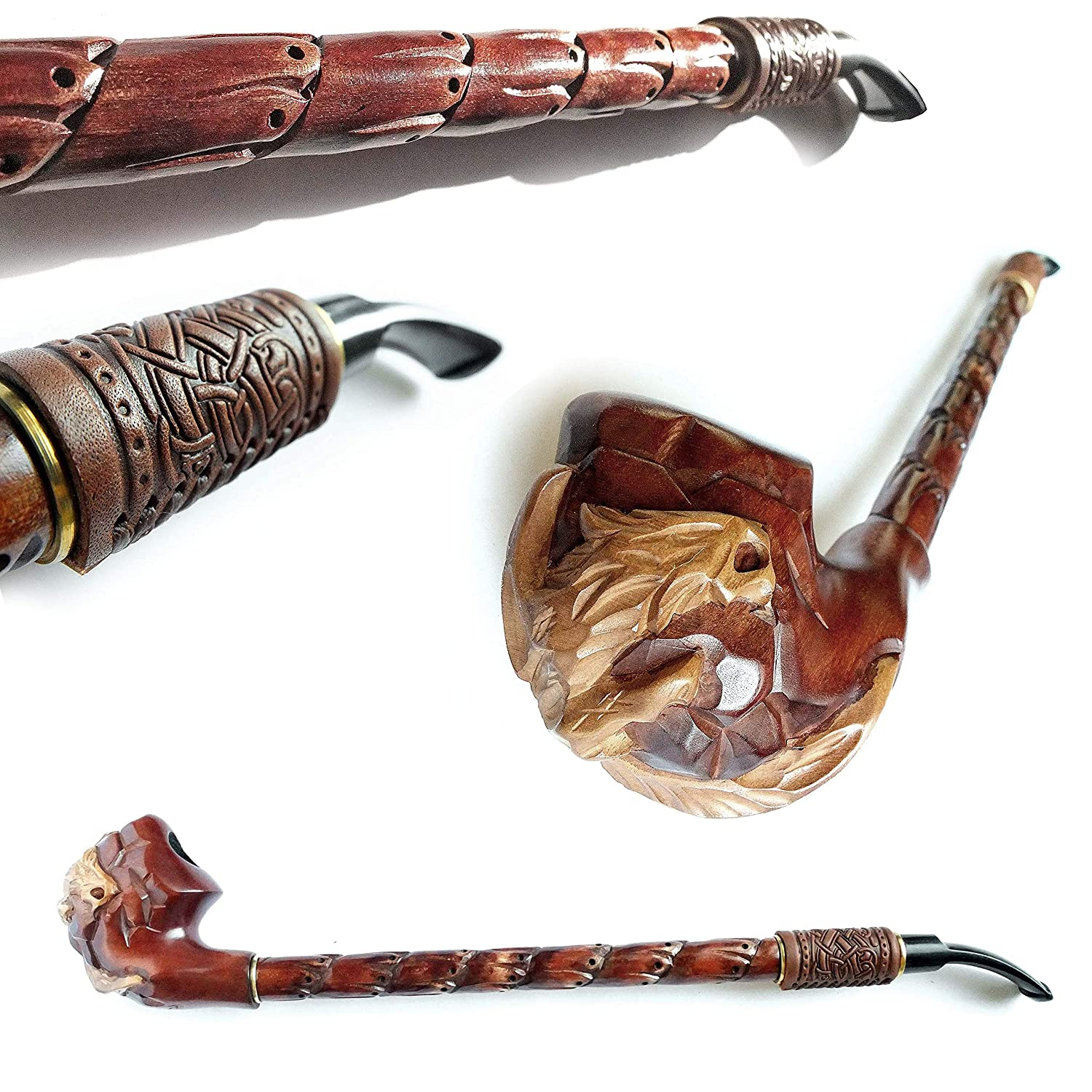 "Churchwarden 15'' Pipe""DRAGON"" Decorated with Leather. Tobacco Handcrafted Smoking Pipe of Pear Root, Designed for pipe smokers"
