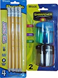 The First Jumbo Premium Yellow Pencil with Dual Blades Sharpener. 1 Set of Pencils (4 Pcs) and Sharpener (2 Pcs Colors May Vary).