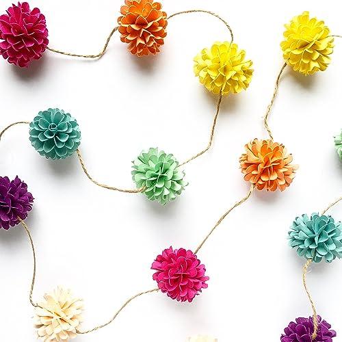 Paper Flower Pomander Ball Garland 6 L Handmade