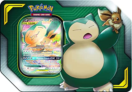 Pokemon Tag Team Tin Snorlax-GX & Eevee- TCG: Sun & Moon Box- 4 Booster Packs + 1 Special Eevee & Snorlax-GX Foil Card