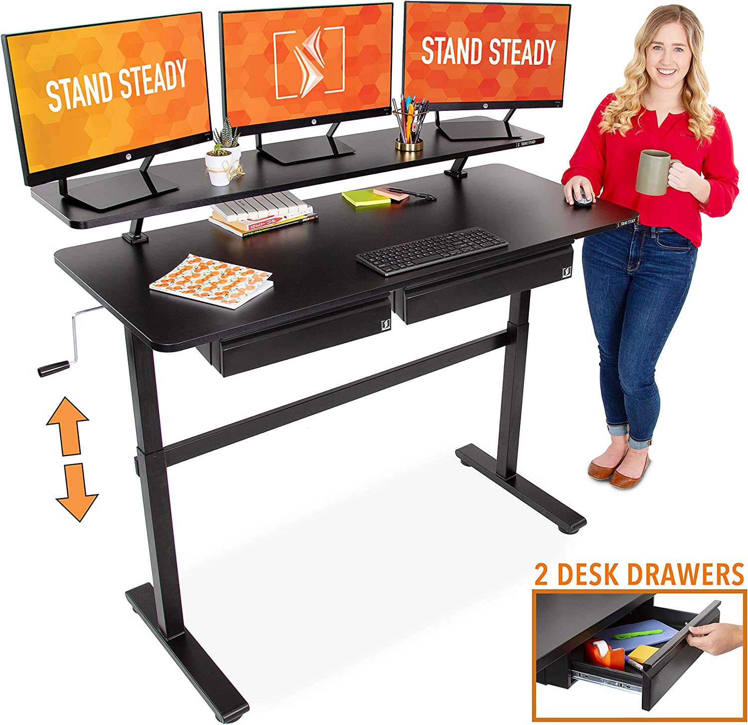 "Stand Steady Tranzendesk 55 Inch Standing Desk with Clamp On Shelf & 2 Under Desk Drawers | Easy Crank Height Adjustable Stand Up Workstation with Attachable Monitor Riser & Extra Storage (55""/Black)"